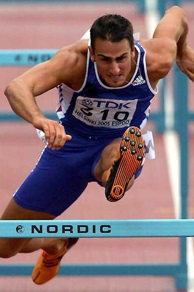 Romain Barras of France in the Helsinki Decathlon hurdles (Getty Images)