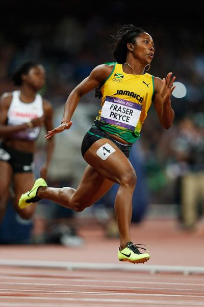 Shelly-Ann Fraser-Pryce of Jamaica in action during the Women's 200m Semifinal on Day 11 of the London 2012 Olympic Games at Olympic Stadium on August 7, 2012  (Getty Images)