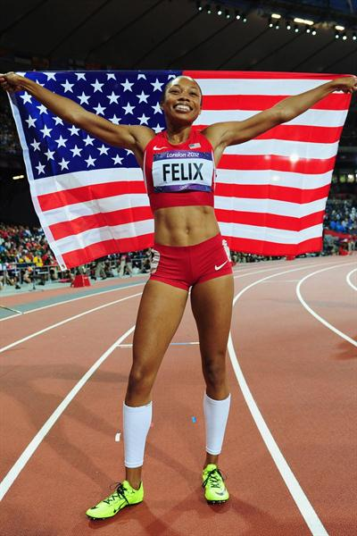 Allyson Felix of the United States is enjoying being gold  and Olympic champion after winning the Women's 200m Final on Day 12 of the London 2012 Olympic Games at Olympic Stadium on August 8, 2012 (Getty Images)
