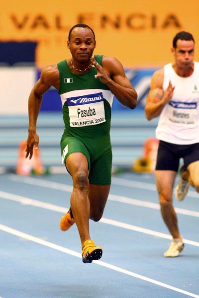 Olusoji Fasuba in the heats of the men's 60m (Getty Images)