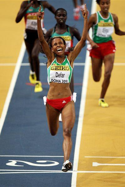 Meseret Defar collecting World indoor 3000m title No. 4 in Doha. Can she make it five in Istanbul? (Getty Images)