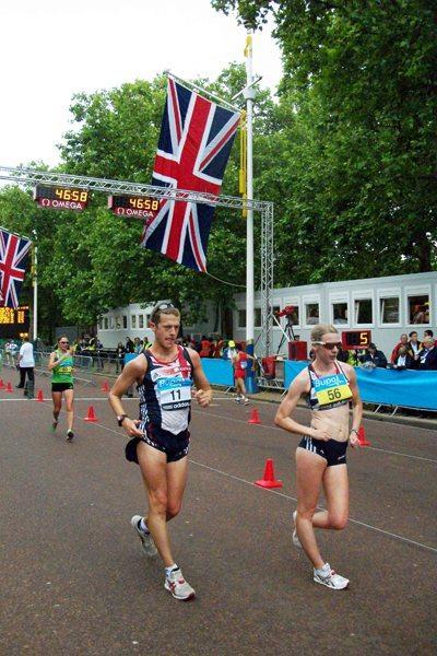 Johanna Jackson (56) testing the London Olympic Race Walk course on 30 May 2011 (Paul Warburton)