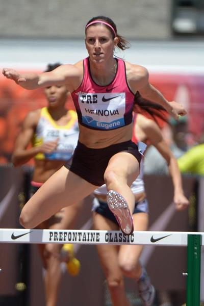 Zuzana Hejnova winning at the 2013 IAAF Diamond League in Eugene (Kirby Lee)