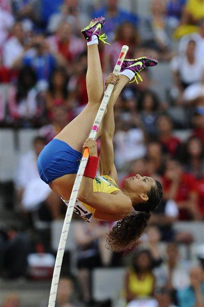 Angelica Bengtsson of Sweden competes to win the gold medal on the on the Women's Pole Vault Final on the day five of the 14th IAAF World Junior Championships in Barcelona on 14 July 2012 (Getty Images)