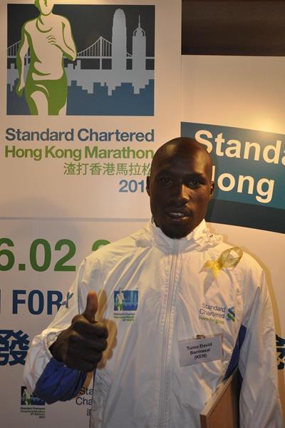 David Barmasai at the pre-race press conference for the 2014 Standard Chartered Hong Kong Marathon (Organisers)