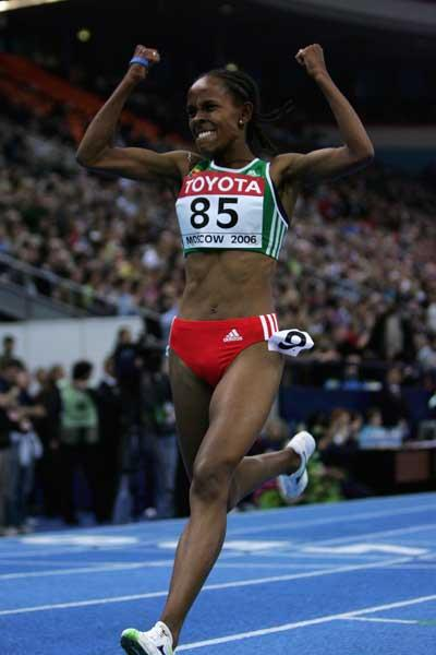 Meseret Defar of Ethiopia wins the women's 3000m final (Getty Images)