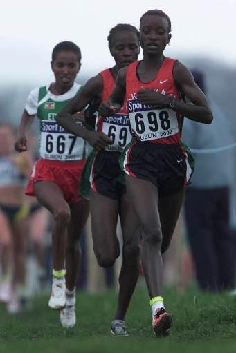 Kidane (back left) running  in Dublin at the World Cross Country Championships (Getty Images)
