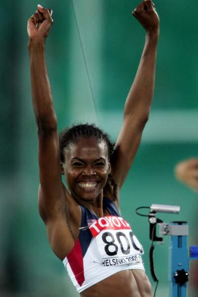 Chaunte Howard of the US celebrates winning silver in the women's High Jump (Getty Images)