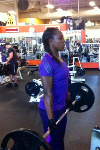 Veronica Campbell-Brown in the gym (Omar Brown)