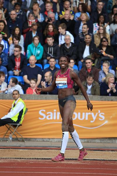 Caterine Ibarguen at the 2014 IAAF Diamond League meeting in Birmingham (Jean-Pierre Durand)