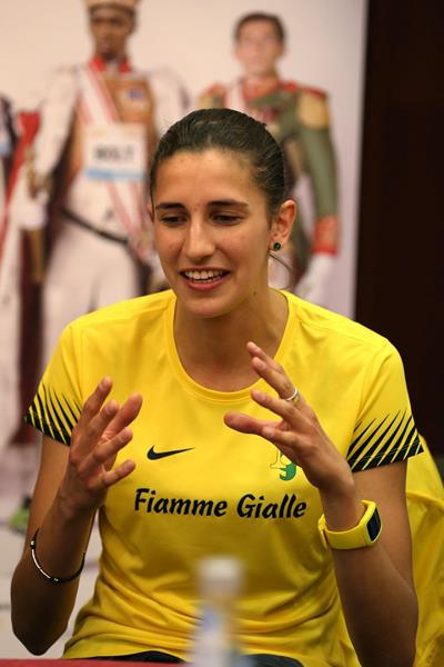 Alessia Trost at the pre-event press conference for the 2013 IAAF Diamond League meeting in Rome (Giancarlo Colombo)
