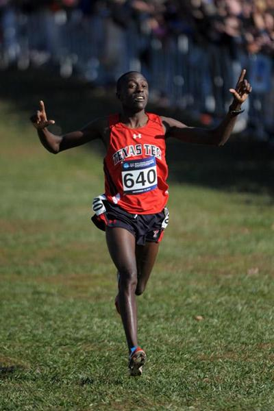 Kennedy Kithuka of Texas Tech wins the mens race at the 2012 NCAA Cross Country Championships (Kirby Lee)