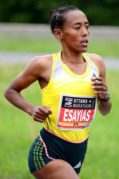 Yeshi Esayias en route to winning the 2013 Ottawa Marathon (Victah Sailer - organisers)