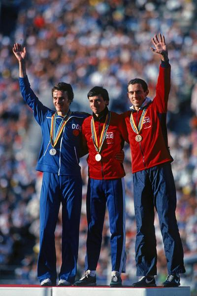 Jurgen Straub, Sebastian Coe and Steve Ovett on the 1500m podium at the 1980 Olympics (Getty Images)