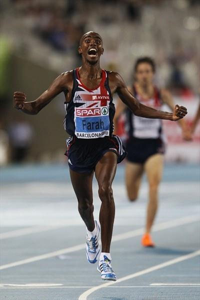 All smiles - Mo Farah takes his first European outdoor gold in the Barcelona 10,000m (Getty Images)