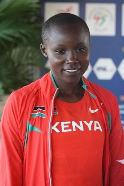 Mercy Cherono after her African junior 3000m title in Bambous (Mark Ouma)