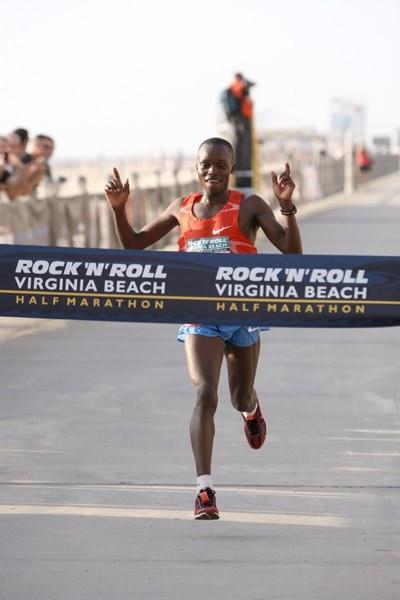 William Chebor of Kenya wins the ninth annual Rock 'n' Roll Half Marathon in Virginia Beach (Victah Sailer)
