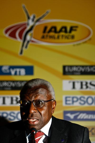 IAAF President Lamine Diack speaks at the press conference for the IAAF World Indoor Championships (Getty Images)