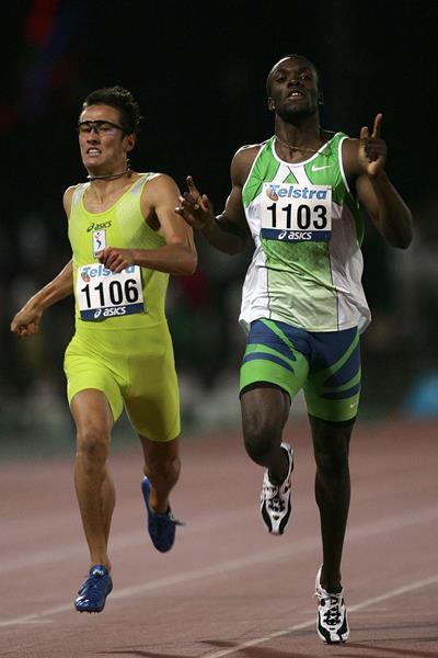 LaShawn Merritt celebrates winning the 400m in Melbourne (Getty Images)