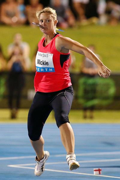 Kim Mickle, winner of the javelin in Perth (Getty Images)