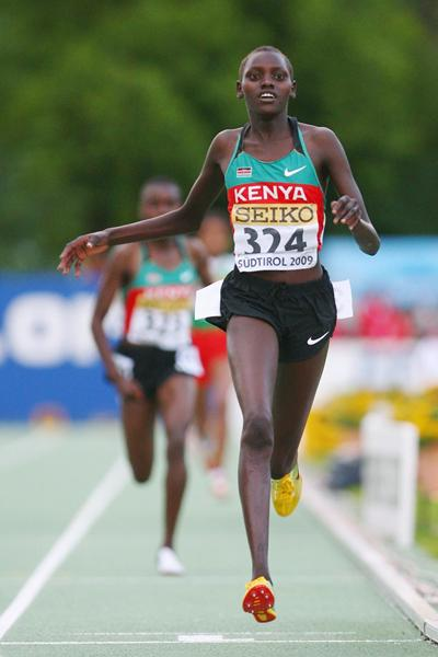 Purity Cherotich Rionoripo of Kenya wins the Girls' 3000m (Getty Images)