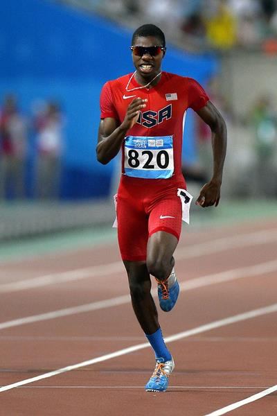 Noah Lyles winning the 200m at the 2014 Youth Olympic Games (YOG LOC)