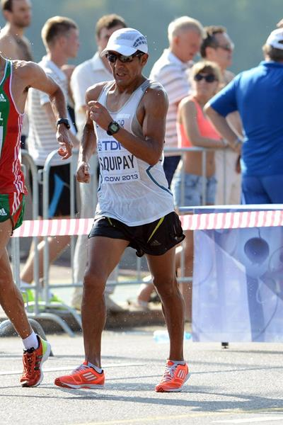 Rolando Saquipay in the 20km race walk at the 2013 IAAF World Championships (Eduardo Biscayart)