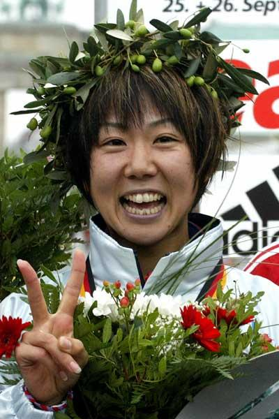 Yoko Shibui after her 2:19:41 Japanese record win in Berlin (AFP/Getty Images)