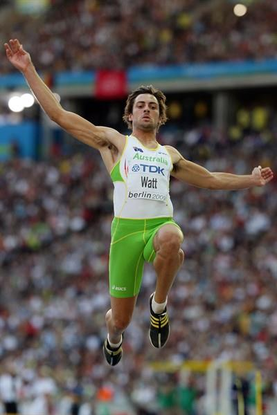 Mitchell Watt of Australia in the men's Long Jump final at the IAAF World Championships (Getty Images)