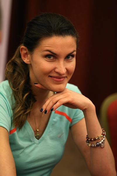 Anna Chicherova at the pre-event press conference for the 2013 IAAF Diamond League meeting in Rome (Giancarlo Colombo)