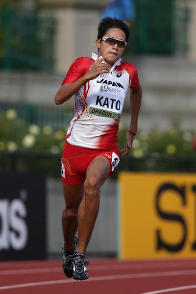 Nobuya Kato in the 400m at the 2014 IAAF World Junior Championships in Eugene (Getty Images)