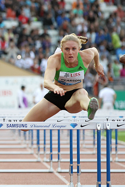 Sally Pearson wins the 100m hurdles at the Lausanne Diamond League (Giancarlo Colombo)