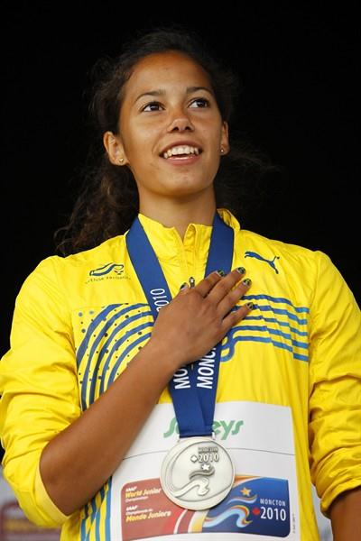 Angelica Bengtsson on top of the women's Pole Vault podium (Getty Images)