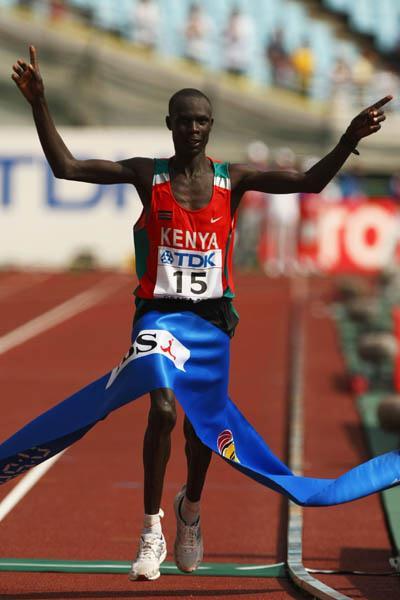 Luke Kibet of Kenya celebrates winning the Men Marathon's gold medal in Osaka (Getty Images)