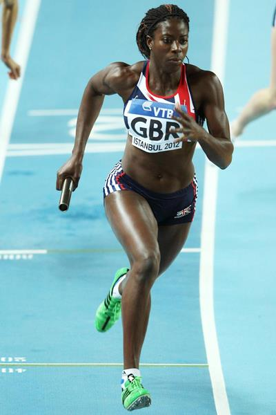 Christine Ohuruogu in action in the 4x400m at the IAAF World Indoor Championships (Getty Images)