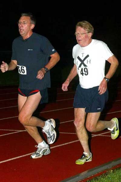 David Moorcroft and Chris Chataway running together on 13 October 2004, the 50-year anniversary of Chataway's 5000m world record (Mark Shearman)
