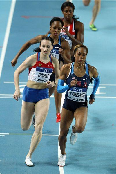 (L-R) Sanya Richards-Ross of the United States and Aleksandra Fedoriva of Russia fighting for Gold medal in the Women's 400 Metres Final during day two - WIC Istanbul (Getty Images)