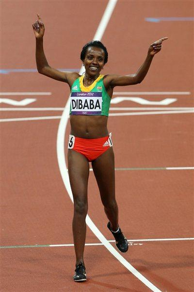Tirunesh Dibaba of Ethiopia  won the gold medal in the Women's 10,000m Final on Day 7 of the London 2012 Olympic Games at Olympic Stadium on August 3, 2012 (Getty Images)