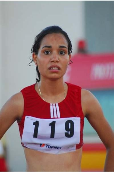 Olfa Hamdi of Tunisia - after her 24:33.27 CR for the 5000m Race Walk (Slim Gomri)