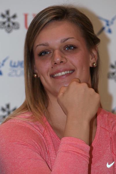Sandra Perkovic ahead of the 2014 IAAF Diamond League final in Zurich (Jean-Pierre Durand)