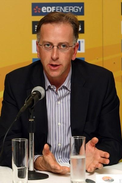 UK Athletics Chairman Ed Warner at the pre-race press conference in Birmingham (Getty Images)