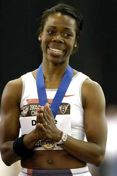 Angela Daigle after her US Indoor 60m win in Boston (Kirby Lee)