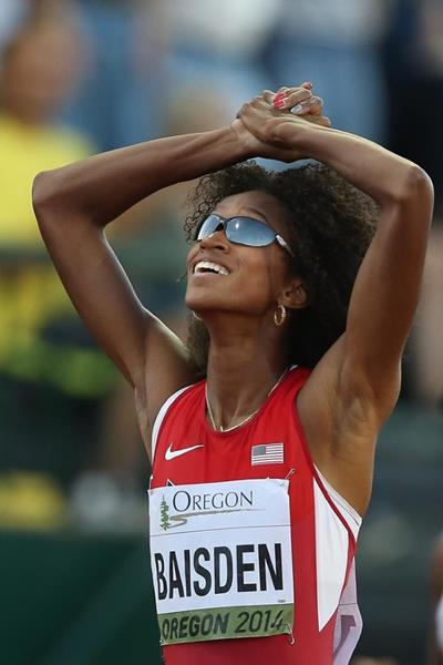 400m winner Kendall Baisden at the IAAF World Junior Championships, Oregon 2014 (Getty Images)