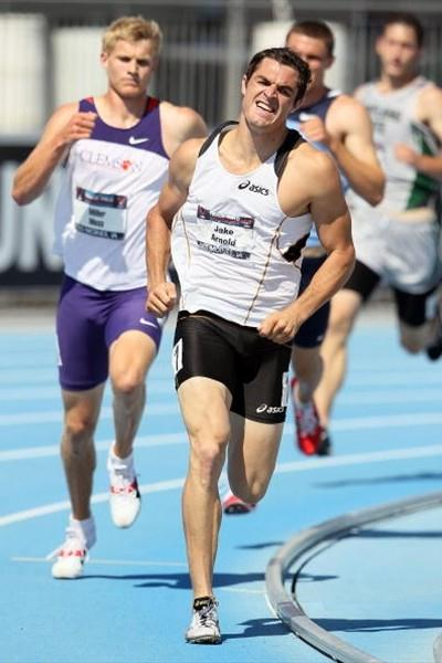 """Robert """"Jake"""" Arnold in the 1500m heads to overall victory in the Decathlon at 2010 USATF Nationals (Getty Images)"""