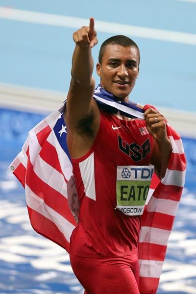 Ashton Eaton in the men's Decathlon at the IAAF World Athletics Championships Moscow 2013 (Getty Images)
