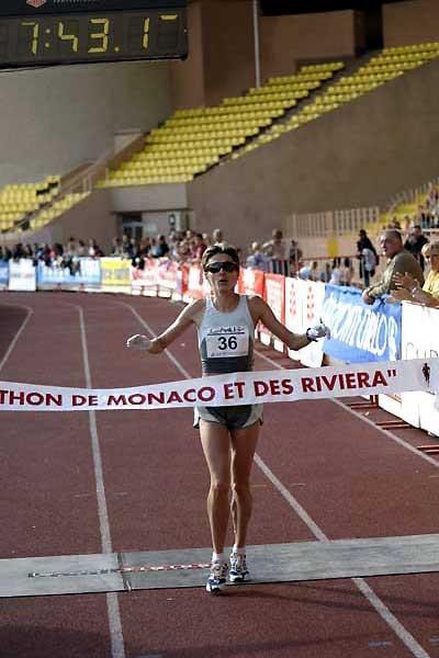 Alina Tecuta Gherasim of Romania, the women's race winner at the 9th Monaco Marathon in the Stade Louis II (Sean Wallace-Jones)