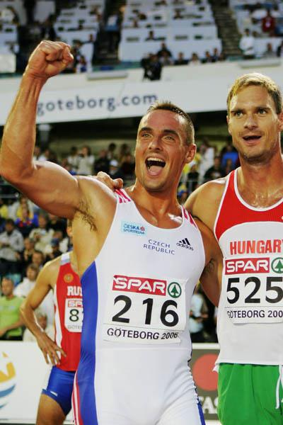 Roman Sebrle celebrating his Decathlon title defence in Gothenburg (Getty Images)