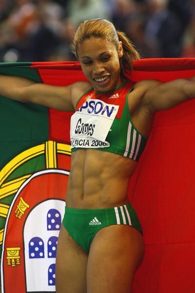 Naide Gomes of Portugal, winner of the women's long jump (Getty Images)