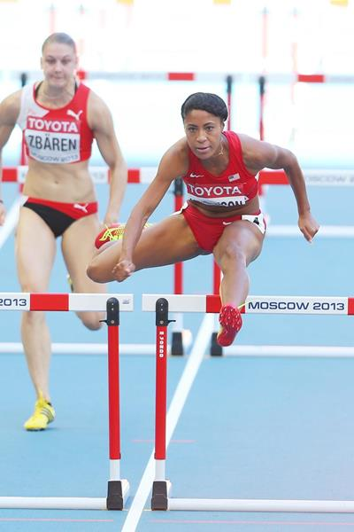 USA's Queen Harrison in the 100m Hurdles at the 2013 IAAF World Championships (Getty Images)
