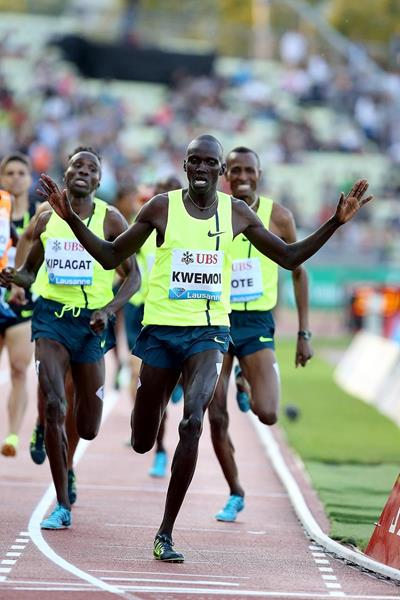 Ronald Kwemoi winning the 1500m at the 2014 IAAF Diamond League meeting in Lausanne (Giancarlo Colombo)